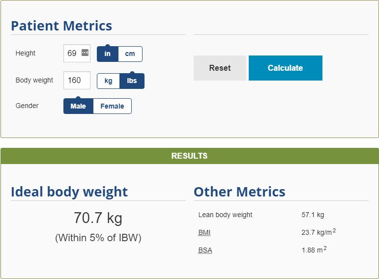 Body Weight Calculator